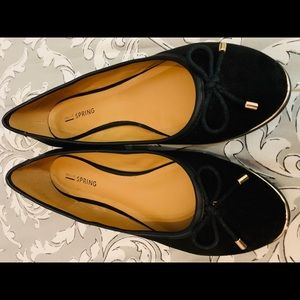 Black suede flats with gold detail - size 7.5